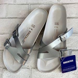 Birkenstock Yao Silver Metallic Birko-Flor Sandals